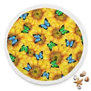 Sunflowers & Butterflies Summer Towel Sun Bathing Beach Mat With Tassel Blanket