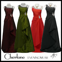 Cherlone Satin Full Length Formal Ballgown Prom Wedding Bridesmaid Evening Dress