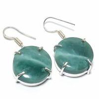 "Green Apatite Gemstone Handmade Ethnic 925 Silver Jewelry Earring 1.62"" VK-2323"