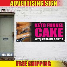 Keto Funnel Cake With Caramel Drizzle Advertising Banner Vinyl Mesh Decal Sign