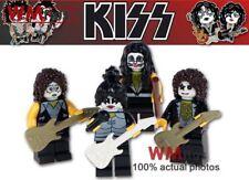 Rock Band KISS - Gene, Ace, Paul, & Peter - Custom Printed Lego Mini figures
