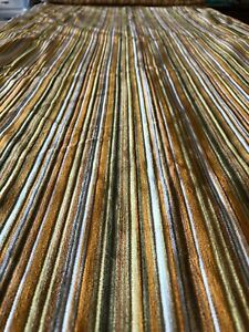 Vintage 70s Retro Velvet Striped Gold Upholstery Fabric Textured Material Hippie