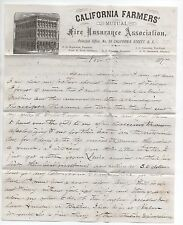 1877 Letterhead & Letter California Mutual Fire Insurance Asso. San Francisco