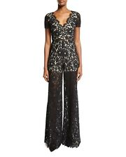 Alice + Olivia Jumpsuit 2 Mariam Black Lace Sheer Wide Leg V Neck Women's $550