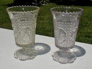 Pair (2) Amelia aka Star Medallion Footed Celery Vase Imperial Glass No. 671