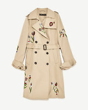 ZARA EMBROIDERED BELTED TRENCH COAT CAMEL TRENCHCOAT MANTEL STICKEREI SIZE M