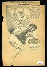 Jack Dempsey Max Baer JSA Coa Hand Signed 1930`s Photo Cut Autograph