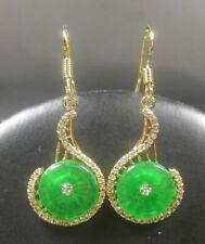 Green Jade Circle Imitation Diamond Yellow Gold Plated Hook Dangle Earrings