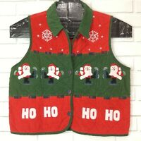 Ugly Christmas Sweater Party Vest Corduroy Red Green Santa Ice Skating Large