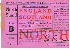 ENGLAND v SCOTLAND 17 Mar 1928 RUGBY TICKET ENGLAND GRAND SLAM MATCH