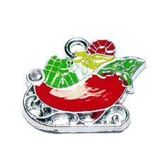 5 Pcs 22x20mm Santa Claus Gift Zinc Alloy Enamel Charm Pendants - A0855