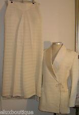 GUY LAROCHE Silk PANT SUIT Crystal Beaded Jacket Dress Slacks Trousers 40 10 8