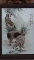 """ANTIQUE 19C CHINESE FAMILY ROSE PORCELAIN PLAQUE OF CHINESE ZODIAK  """"SHEEP"""""""