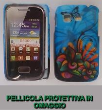 Pellicola + custodia BACK cover SFONDO BLU per Samsung Galaxy Pocket S5300
