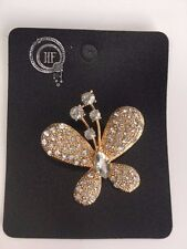Beautiful Butterfly Diamante Crystal Brooch Gold metal NEW lovely gift