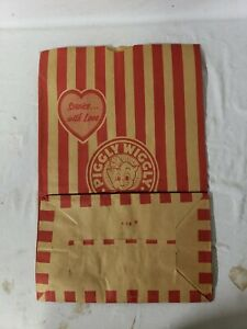"""1 Vintage Piggly Wiggly Grocery Store 11.5"""" x 17.5"""" Paper Bag Sack Red Striped"""