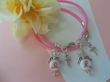 (2) BREAST CANCER AWARENESS PINK  ANGEL 'HOPE AND FAITH' BRACELETS