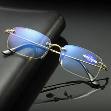 Rimless Distance Near Bifocal reading glasses Anti blue ray Metal Gold/Silver