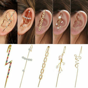 Bohemia Cubic Zirconia Earrings Ear Wrap Crawler Hook Women Wedding Jewelry Gift