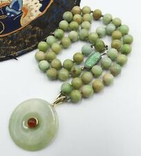 Old Chinese beads & carved jade clasp /14k gold jade Bi pendant with tourmaline