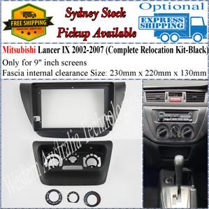 For 9 Nine Inch Screen Fascia facia Fits Mitsubishi Lancer Black Relocation Kit