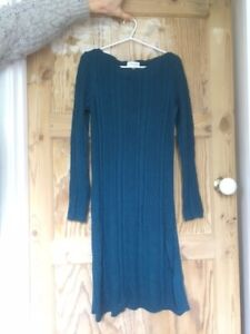 Monsoon Size S Cable Knit Dress in Teal