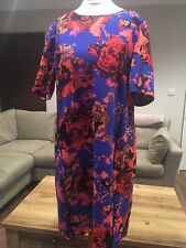 BNWT Marks & Spencer Petite Collection Blue Mix Patterned Shift Dress size 12(P)