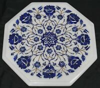 Lapis Lazuli Stone Floral Work Coffee Table Top Marble Corner Table Home Assents