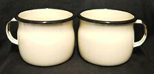 Pair of Emalia, Olkusz 1907 Large Cream Enamel Cups - BNWOT