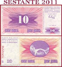 BOSNIA & HERZEGOVINA  -  10 DINARA 1.7. 1992  -    P 10  -   FDS / UNC