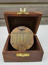 Antique Stanley London Compass Nautical Brass Brunton Compass With Wooden box