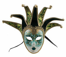 Mask from Venice Volto Jolly Green and Golden 7 Spikes for Prom Costume 772 V25