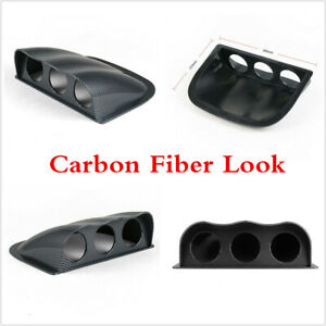 Carbon Fiber Color 3Hole Guage Mount Holder For 52mm Auto Car Meter Dashboard