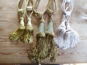 Pair Luxury Curtain Holdbacks Rope Tie Backs Tassel Tiebacks Various Colours
