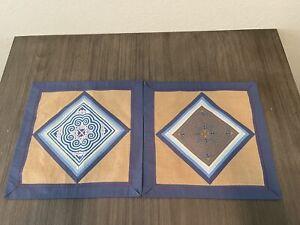 SET OF TWO PILLOW COVERS GEOMETRIC DESIGN  COTTON LINEN BLEND BLUE BROWN