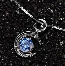 "18"" Chain Sterling Silver Cubic Zirconia Moon Love Pendant Necklace Gift Box L8"