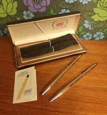 Vintage Boxed CROSS 14ct Rolled Gold Pen & Pencil Set - working