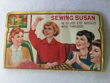 Original vintage Sewing Susan silver eye needles with threader book booklet case