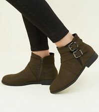 Womens khaki green suedette buckle ankle boots in size 7 uk