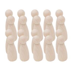 Blesiya 20Pcs DIY Unfinished Wooden Peg Dolls Cake Topper Natural Wood Kids Toy