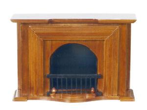 Miniature Dollhouse Walnut Fireplace 1:12 Scale New t6001