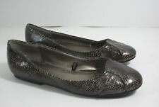Charlotte Russe Snake Skin Print Black Brown Shiny Vegan Slip On Flats Shoes 8 M