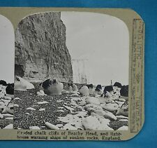 Stereoview Photo England Eroded Chalk Cliffs Of Beachy Head Lighthouse Realistic