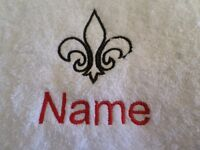 FLEUR DE LIS, Personalised Name Embroidered on Towels Bath Robes Hooded Towels