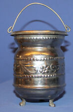 Vintage Small Decorative Floral Metal Pot