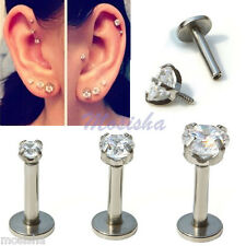 "3X 16G 1/4"" 2/3/4mm CZ Round Tragus Lip Monroe Stud Cartilage Earrings Piercing"