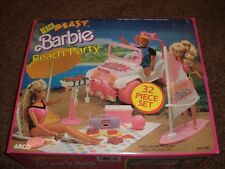 Vtg Barbie Beach Party Blast Jeep 1988 Mint NIB Arco 7390 32 pc Set Surf Grill