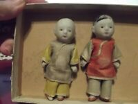 """VINTAGE CHINESE DOLLS 3 3/4""""  miniature jointed bisque dressed Gifted in 1942"""