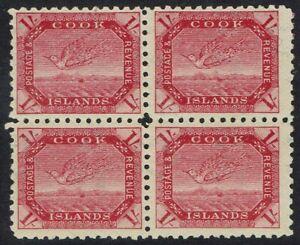 COOK ISLANDS 1893 TOREA BIRD 1/- TONED PAPER BLOCK */** WMK SIDEWAYS PERF 11