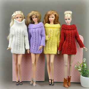 """1/6 Accessories Knitted Handmade Sweater Top Coat Dress Clothes For 11.5"""" Doll"""